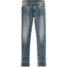 Maison Margiela Distressed Skinny Jeans ($619) ❤ liked on Polyvore featuring men's fashion, men's clothing, men's jeans, blue, mens blue jeans, mens torn jeans, mens ripped skinny jeans, mens distressed skinny jeans and mens blue skinny jeans