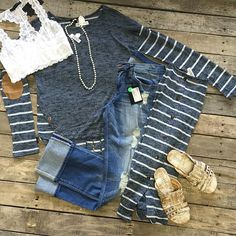 """#NEWARRIVALS  #Navy #Knit #Top w/ #ElbowPatch $22.99 S-L #FlyingMonkey #Distressed #Boyfriends $78.99 24-30 #BedStu #Diaz $109.99 8-11 #Necklace $19.99 #Lace #Bralette $24.99 M&L We #ship! Call to order! 903.322.4316 #shopdcs #instagood #instashop #love #style  #shoplocal"" Photo taken by @daviscountrystore on Instagram, pinned via the InstaPin iOS App! http://www.instapinapp.com (09/15/2015)"