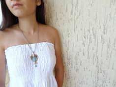 Fish NecklaceTurquoise Stone Necklace Chain by sevinchjewelry