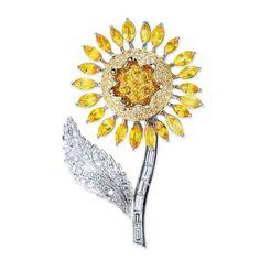 VannaK.com 18KT White Gold Brooch -3.39 Carats of Diamonds -8.38 carats of Yellow Saphires