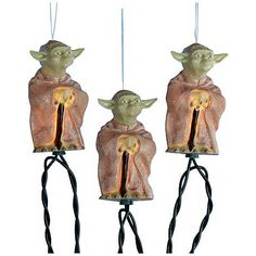 "Let Yoda ""enlighten"" you with this fun set of Star Wars party lights."
