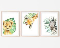 Safari Animal Prints, Nursery Decor, Print at Home Set of 3 Wall Art, Lion Giraffe Zebra by HolaSunshineDesigns on Etsy Safari Nursery, Baby Nursery Decor, Animal Nursery, Woodland Nursery, Nursery Prints, Nursery Art, Safari Animals, Baby Animals, Animal Decor