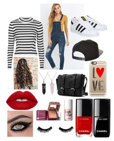 """""""Off duty model"""" by notallthatglittersisgold on Polyvore featuring Cheap Monday, Topshop, adidas, Bling Jewelry, Brixton, Casetify, Lime Crime, Hoola and Benefit"""