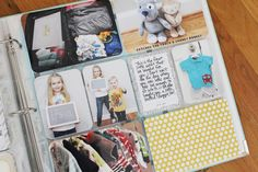 baby project life-wish i saw this before i had my kids. she kept so many things that i didn't. she has creative ideas for photos(packed suitcase, first outfit bought for baby, stuffed animal gifts from siblings, etc)as well! Project Life Baby, Project Life Planner, Project Life Scrapbook, Project Life Layouts, Baby Scrapbook, Baby Journal, Pocket Scrapbooking, Baby Album, Memory Books