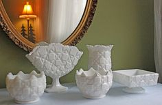 Westmoreland Set of Five Milk Glass Vases in by AnythingDiscovered