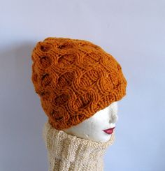 Hand Knit Golden Yellow Cable Beanie Hat by recyclingroom on Etsy, $28.00