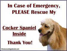 COCKER SPANIEL - In Case of Emergency Rescue my COCKER - Window Decal Sticker