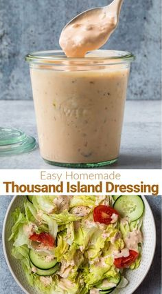 Simple and easy homemade Thousand Island Dressing with mayo, sour cream, ketchup, relish, onion, and vinegar. Homemade salad dressings are lively, delicious and fun to customize; you'll never go store-bought again! #tastesbetterfromscratch #thousandislanddressing #dressing #homemade #easy via @betrfromscratch Easy Dressing Recipe, Salad Dressing Recipes, Salad Dressings, Salad Recipes, Appetizer Recipes, Dinner Recipes, Appetizers, Homemade Thousand Island Dressing, Salad Sauce