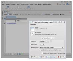 Kexi Database Creation  for Everyone - Advanced CSV Export Dialog