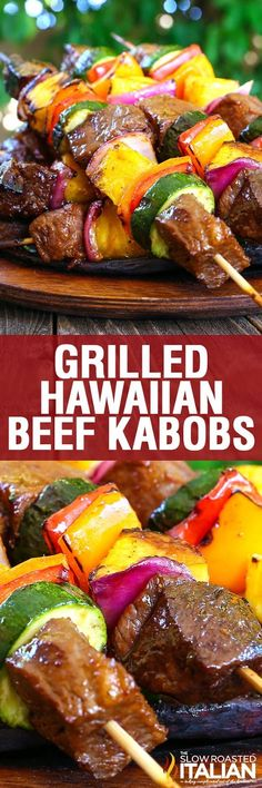 Grilled Hawaiian Beef Kabobs are such an amazing yet simple recipe you will be making them all year long. Your favorite island flavors all come together with tender beef in a glorious marinade, juicy pineapple and a rainbow of perfectly cooked vegetables Beef Kabob Recipes, Grilling Recipes, Meat Recipes, Dinner Recipes, Cooking Recipes, Healthy Recipes, Sirloin Recipes, Fondue Recipes, Cooking Rice