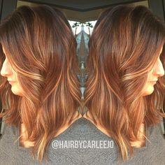 Pumpkin Spice Latte Hair • haircolor • lob • long bob •highlights @hairbycarleejo