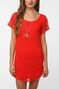 Ecote Patchwork Crochet Dress - Urban Outfitters