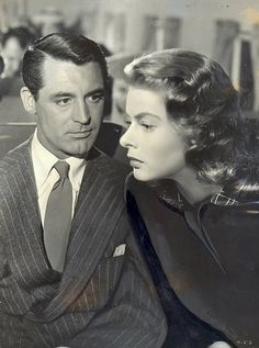 "Ingrid Bergman and Cary Grant in ""Notorious"" Another form of art, a good script and movie."