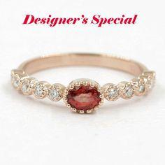 Orange Sapphire Ring.Diamond ring.14k Rose Gold Ring.0.17 Ct High Quality Diamond.14k Engagement Ring.Wedding Band.Sapphire Engagement Ring by Masterjewelryshop on Etsy