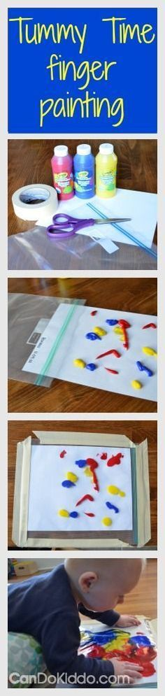 Tummy Time Finger Painting for babies #sensoryplay #infantactivities #messfree