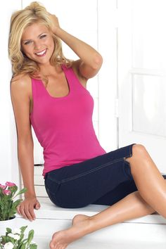 Three styles, six colors. Unique Pajamajeans&reg designed to give you the style and look of crisp denim with the comfort of your favorite pjs. Fashion Over Fifty, Shades Of White, Twiggy, Floral Fabric, Basic Tank Top, Pajamas, Denim, Tank Tops, My Style
