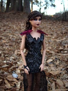 """Katniss Everdeen in Victor's Ball Dress Repainted/Hair Restyled Barbie Doll and Costume from """"The Hunger Games: Catching Fire"""" - by Morgan May @ Stardust Dolls - http://www.stardustdolls.com"""