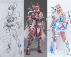 """Celebrating 20 years of Pokemon ⚡️. Last but not least (and not for long after the announcement of a NEW Eeveelution soon ) Valkyreevee: """"Sylveon"""" as a sketch, digital painting and cosplay Costume made and worn by @gladzykei Sketch by me Digital..."""