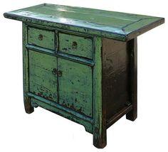 Verde Crystal Laca sólida Elm Wood Side Table Mesas de almacenamiento del gabinete asiático auxiliares y mesas de acento