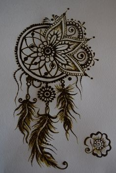 Henna dreamcatcher desing. Mehndi feathers.                                                                                                                                                              (Beauty Design Drawing)