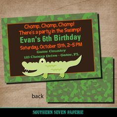Alligator Swamp Birthday Party Invitation by SouthernSevenPaperie, $20.00