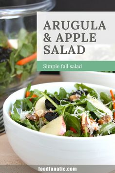 This simple fall arugula and apple salad is the perfect addition to your fall menu planning. Nutty manchego and sweet cherries paired with spicy arugula come together to create a salad that will leave you craving more!