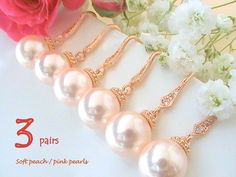 Set Of 3 Unique Bridesmaid Gift Idea, Rose Gold Jewelry, Pink Pearl Wedding Jewelry, Pearl Wedding Earrings, Cubic Zirconia Earring