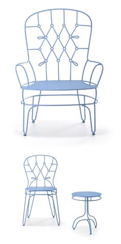 hello 'tufted' metal chair