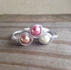 Pearl Rings Silver Wire Wrapped in White Dark Rose by SoSheDidShop