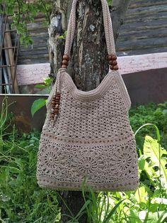 Beige handmade crochet handbag .Summer cotton boho crochet purse Tan bag Summer crochet bag Gift ide