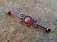 Pink Fire Opal Steam Punk Industrial Barbell 14ga Upper Ear Piercing Body Jewelry