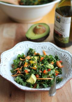 The BEST Kale Rainbow Detox Salad with Lemon Vinaigrette @Monique Volz | Ambitious Kitchen