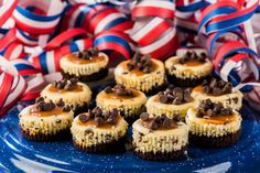 Salted Caramel Chocolate Chip Cheesecakes dotted with mini chocolate chips celebrates the summer with flare. A family favourite. Recipe online.