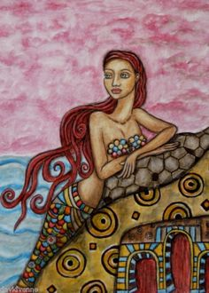 Folk art mermaid by Rain Rarin