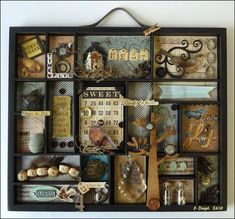 One-of-a-Kind Wall Art Contest finalists! Page 3 – Archiver's Online One-of-a-Kind Wall Art Contest finalists! Page 3 – Archiver's Online Altered Boxes, Altered Art, Vitrine Vintage, Diy And Crafts, Paper Crafts, Shadow Box Art, Assemblage Art, Scrapbooking, Assemblages