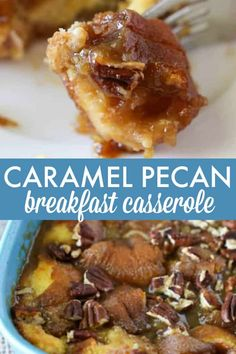 Pecan Breakfast Casserole Caramel Pecan Breakfast Casserole - Indulge your sweet tooth with this simple and decadent recipe.Caramel Pecan Breakfast Casserole - Indulge your sweet tooth with this simple and decadent recipe. Best Breakfast Casserole, Breakfast Crockpot Recipes, Breakfast Bake, Sweet Breakfast, Breakfast Dishes, Brunch Recipes, Casserole Recipes, Breakfast Ideas, Brunch Dishes