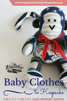 This uber cool Monkey Keepsake was hand crafted from a super cool little boys first outfit. baby grows, t-shirts, vests and trousers