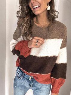 Women Sweater Casual Striped Plus Size Long Sleeve Tops Cardigan Long, Loose Sweater, Long Sleeve Sweater, Casual Sweaters, Sweaters For Women, Striped Sweaters, Knit Sweaters, Pullover Sweaters, Plus Size Long Sleeve Tops