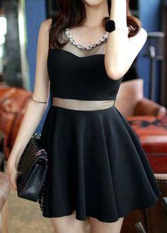 Sexy Black A Line Gauze Design Mini Dress on Luulla