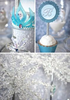 Check out these ideas for setting up a Frozen Party sweets table including winter wonderland terrariums and Frozen inspired tutu dress.