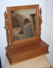Vintage Ethan Allen Nutmeg Standing Mirror With Drawer American Tradition Chest Top Shaving
