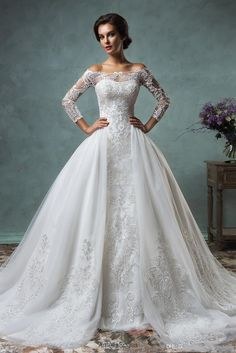 2016 Full Lace Wedding Dresses with Detachable Skirt Amelia Sposa Cheap Plus Size Sheer Long Sleeve Modest New Vintage Sequins Bridal Gowns