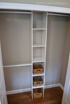 Funky Junk Interiors: How to build the easiest clothes closet EVER - Home Projects We Love Closet Redo, Closet Remodel, Kid Closet, Closet Bedroom, Closet Space, Closet Storage, Entryway Closet, Wardrobe Storage, Bathroom Closet