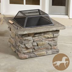 @Overstock.com - Christopher Knight Home Corporal Square Fire Pit - Entertaining guests around the fire is effortless with this square fire pit from Christopher Knight Home. This beautiful fire pit is designed to resemble stonework and features an easy-to-clean removable iron frame. It also includes a poker and lid.  love this idea for outside