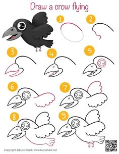 How to draw a cute crow flying easy step by step drawing tutorial Cartoon Drawing Tutorial, Cute Cartoon Drawings, Easy Drawings, Animal Drawings, Crow Flying, Draw Animals, Draw Your, Step By Step Drawing, Learn To Draw