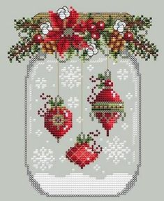 Christmas In The Country  Cross Stitch Heart  Decoration Kit