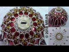 MarielBeadsandBeyond channel is de. Glitter Ornaments, Beaded Ornaments, Diy Christmas Ornaments, Homemade Christmas, Beaded Ornament Covers, Beading Projects, Beading Tutorials, Beaded Jewelry Patterns, Beading Patterns