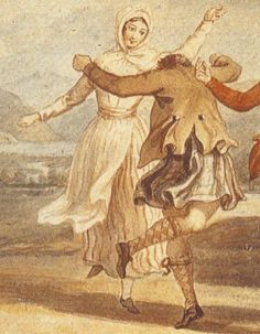 "1780. Detail of ""Highland Dance"" by David Allan. This married woman is wearing the kertch fastened under her chin, a red-and-white striped petticoat, an apron, white stockings, shoes, and a pink or white jacket of some kind -- the details are obscured by the arm of the man in the picture.  The man is in a medium brown jacket and short kilt."