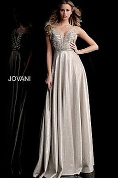 3bf4a3100d3 Champagne Embellished Bodice Plunging Neck Prom Dress 67648