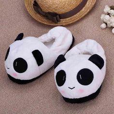 TOYL winter warm Indoor slippers women Cartoon Panda Plush Soft Home Slippers Indoor Floor Shoes 26cm / 10.24in